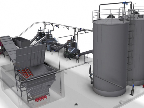Pretreatment Plant for Organic Waste, Live-Bottom Receival Bunker, Shaftless Screw Conveyor System
