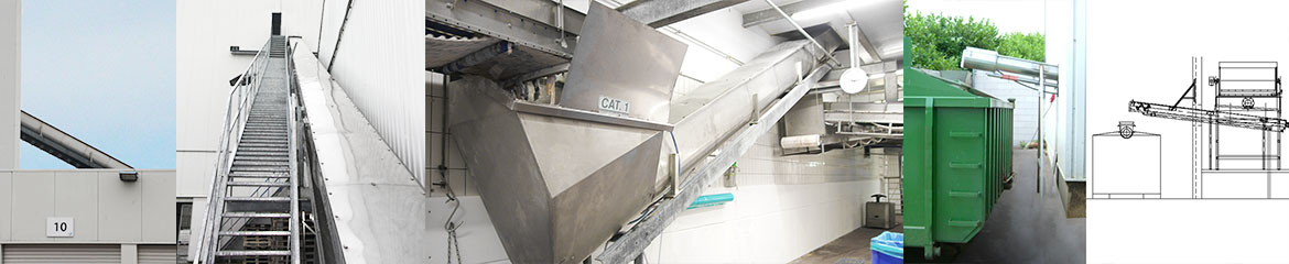 Abattoirs waste conveying, dewatering and storage