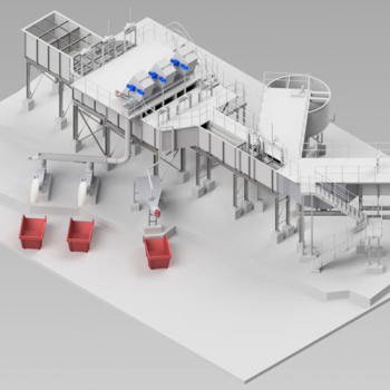 Inlet Works, Moving fine Screens, Screenings and Grit equipment 3D drawings