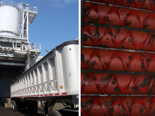 Sludge processing facility with truck receival and vertical lift conveyors