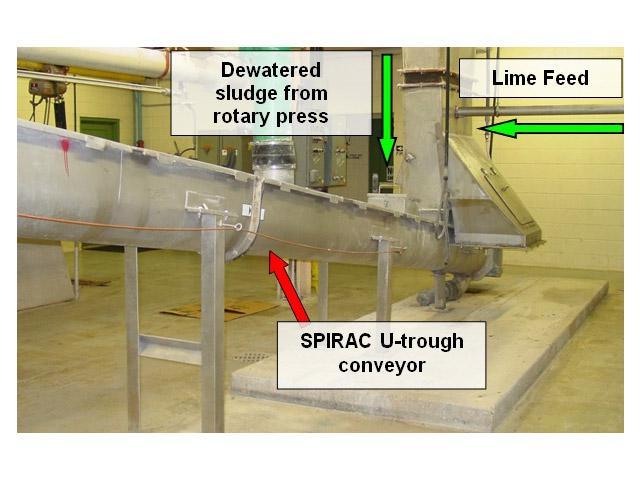 Lime amendment into spiral conveyor train to achieve Class A Sludge